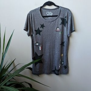 Chaser Military Star Burn Out Short Sleeve Shirt